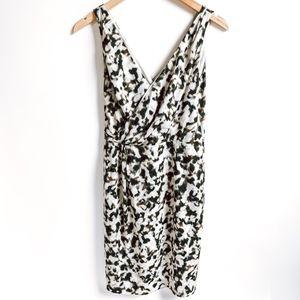 Ann Taylor Sleeveless Abstract Faux Wrap Dress